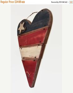 Rustic Home Decor LARGE wood heart Patriotic Heart von RayMels