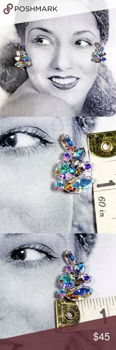"""Vintage Weiss Aurora Borealis crystal earrings Vintage Weiss rainbow Aurora Borealis crystal prong set rhinestone clip earrings.  Measures 1"""" × .75"""" clips area sturdy and in good working order Excellent vintage condition reasonable offers welcome and accepted. Add to a bundle and I'll offer you a great deal ❤ Vintage Jewelry Earrings"""