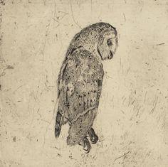 Martin King - Minervas Owl, 2010. Etching, 45x45cm.