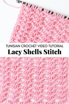 Tunisian Crochet Blanket, Tunisian Crochet Patterns, Tunisian Crochet Stitches, Crochet Shell Stitch, Crochet Crafts, Yarn Crafts, Crochet Instructions, Beginner Crochet Tutorial, Crochet Bookmarks