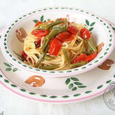 Spaghetti integrali con fagiolini e pomodori / Wholewheat spaghetti with beans and tomatoes