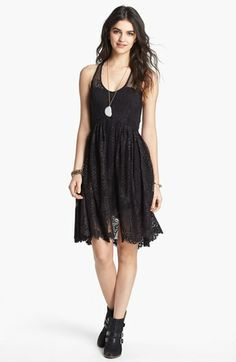 Free People 'Kristal' Metallic Lace Fit & Flare Dress available at #Nordstrom