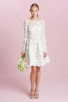 A Sweet Oscar De La Short Lace Wedding Dress Rehearsal Tea