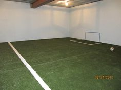 SYNLawn used for a basement mini soccer field.