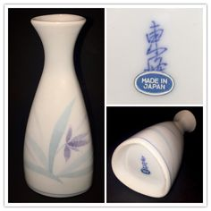 Japanese tokkuri 徳利 bottle for warming and serving saké. It is marked Tōhō 東峰 with a Made in Japan paper label. TOHO JAPAN Corporation founded in 1955 Toki-shi, Gifu prefecture.