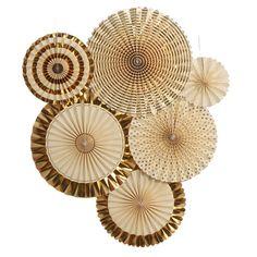 Ling's moment Paper Fans Decorations, Gold Paper Fans Hanging, Vintage Style Par #lingsmoment