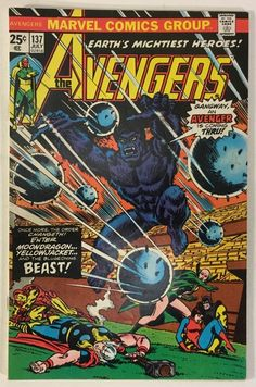 The Avengers #137 Beast and Moondragon Join Team VF- 25¢ Marvel Comics Bronze Age 1975