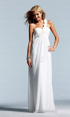 A-line One Shoulder White Floral Chiffon Floor-length Evening Dress at Millybridal.com