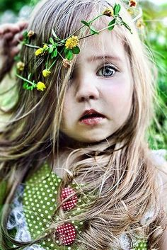 Baby flower child photography hair eyes blonde outdoors nature flowers kids baby hippie polka dots