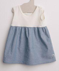 Another great find on #zulily! White & Blue Organic Babydoll Dress - Infant & Toddler #zulilyfinds