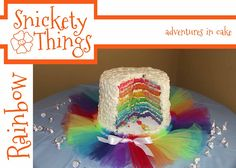 A short tutorial on putting together a rainbow cake.