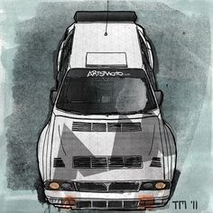 Illustration of a Italian Lancia Delta Integrale HF Rally Car in Artsmoto color scheme. Travel Illustration, Illustration Sketches, Lancia Delta, Car Sketch, Car Drawings, Automotive Art, Commercial Vehicle, Rally Car, Transportation Design