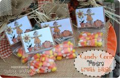 "Candy Corn Poem Treats - Christian poem: ""White is for our sins that Jesus washed away. Orange is for new hope, the Lord gives us each day. Yellow is for His wisdomn and words so sweet, all are wrapped in this candy corn treat!"""
