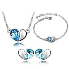 Bracelet Earrings Necklace Jewelry Sets Austria Zircon Crystal Necklace+Earrings+Bracelet Love Heart Jewelry Set Diamond Women Jewellry Online with $4.42on Worldfashionoutlet's Store | DHgate.com