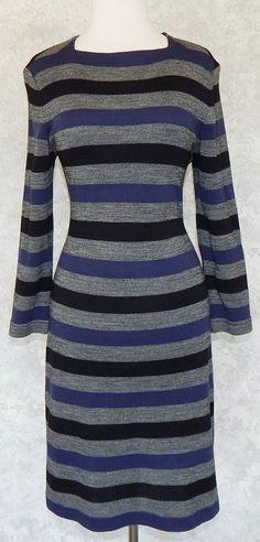 MARK EISEN Black Navy Gray Striped Stretch Knit Sweater Dress Sexy Fitted Sz. L #MarkEisen #SweaterDress #WeartoWork