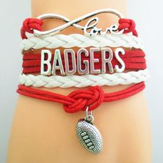 Infinity Love Wisconsin Badgers Football - Show off your teams colors! Cutest Love Wisconsin Badgers Bracelet on the Planet! Don't miss our Special Sales Event. Many teams available. www.DilyDalee.co