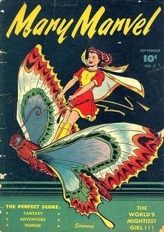 Cover art for Mary Marvel issue no. published by Fawcett, United States, by Marc Swayze. Rare Comic Books, Vintage Comic Books, Comic Book Covers, Vintage Comics, Comic Books Art, Book Art, Vintage Art, Mary Marvel, Captain Marvel Shazam