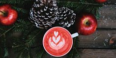 red coffee latte on white ceramic mug Cozy Christmas coffee Christmas Coffee, Cozy Christmas, Family Christmas, Christmas Photos, Christmas Picks, Christmas Calendar, Holiday Images, Christmas Foods, Christmas Things