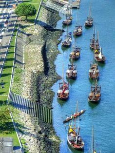 Barcos RABELOS no Rio Douro - Vila Nova de Gaia - Porto - Portugal - f. Rui Videira.