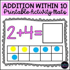 Develop addition fact fluency within 10 with this FUN math activity! Your students will solve each addition using the tens frame and then record their answer in the box. They can use dry-erase pens, playdough, counters or other manipulatives to add the two groups together. LOW-PREP : simply print and laminate!