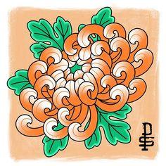 Japanese Chrysanthemum, Chrysanthemum Flower, Japanese Flowers, Flower Tattoo Designs, Flower Tattoos, Traditional Japanese Tattoo Flash, Crysanthemum Tattoo, Japanese Floral Design, Colorful Butterfly Tattoo