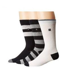Richer Poorer Basic (Black/Black/Charcoal/White) Men's Crew Cut Socks Shoes