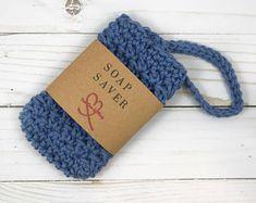Soap holder / Soap saver bag / Cotton soap sack / Cotton soap saver / Cotton bath scrubbie / Crochet soap saver / Blue soap bag / Soap saver