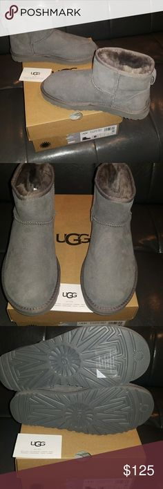 Ugg boots nwt Ugg boots model w classic mini II color gray new never worm incluided original box and tags water resistant # 8.0 womans size price125 UGG Shoes Ankle Boots & Booties