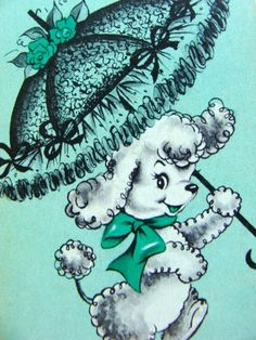 Vintage Kitsch Poodle Shabby Chic Aqua Playing by reginasstudio
