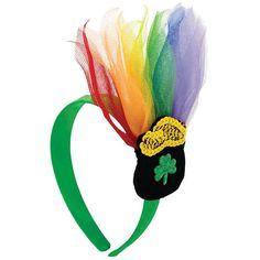 Brighten your whole outfit with green! The St Patricks Day rainbow headband features bright stripes in white and shades of green to complete any outfit. Headband is one size fits all.