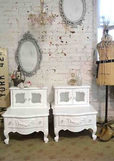 Painted Cottage Chic Shabby White Romantic French Night Table [NT716] - $450.00 : The Painted Cottage, Vintage Painted Furniture