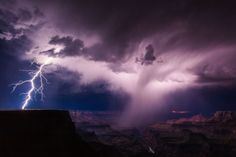 A summer thunderstorm unleashes lightning on the South Rim of the Grand Canyon. - Mike National Geographic Nature Photographer of the Year Thunder And Lightning Storm, Thunderstorm And Lightning, Thunderstorm Quotes, Lightning Storms, Lightning Bolt, Photography Contests, Nature Photography, Lightning Photography, Storm Photography