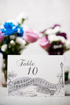 Central Park bow bridge NYC wedding table number by pineapple street designs