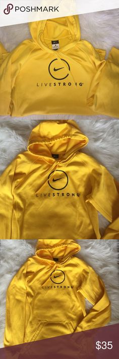 Nike Hoodie NWOT Yellow Live Strong Nike Dry Fit Hoodie. Women's Xs. Like new! Nike Sweaters