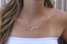 Silver circle necklace Eternity silver necklace by HLcollection