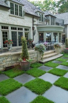I love the idea of having checkerboard pattern - stone and grass