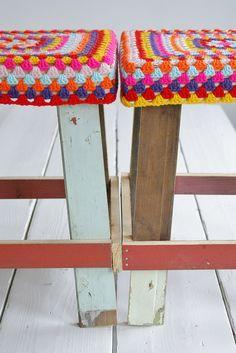 crocheted stools