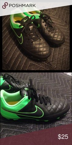 Nike Tiempo Cleats Boys Cleats, size 3 worn one time! Like new, come from a smoke free pet free home Nike Shoes Athletic Shoes