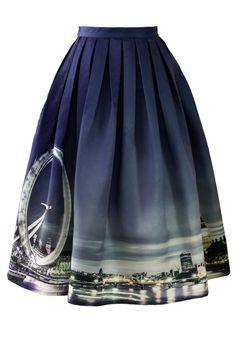 London Eye River Thames Print Midi Skirt - Retro, Indie and Unique Fashion