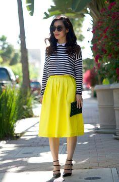 Stripes and Full Midi Skirt