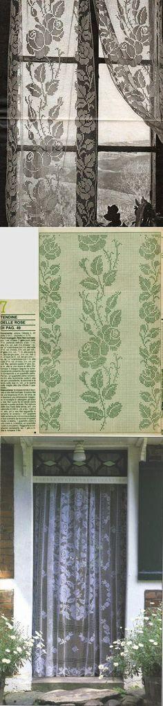 Las cortinas de filete. 3 esquemas // Татьяна Саранина