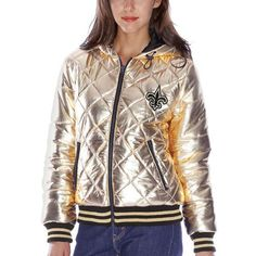 46d9a191f New Orleans Saints Women s Gold Extra Pointed Quilted Jacket