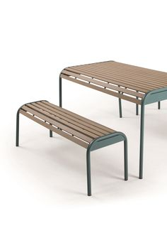 The Mead Outdoor Bench Set, in Graphite Blue. The perfect Al Fresco lunch spot. £499. MADE.COM