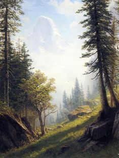 Global Gallery 'Among the Bernese Alps' by Albert Bierstadt Framed Painting Print Size: American Art, Art Painting, Fine Art, Painting, Painting Prints, Painting Reproductions, Canvas Art, Landscape Art, Albert Bierstadt Paintings