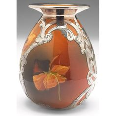 Rookwood vase, Standard glaze with a nicely painted pansy design, applied silver overlay