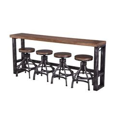 Sofa bar featuring hand distresses metal tube base, with rich wood veneer table top in a warm color tone, with light distressing for a casual industrial contemporary look. Use this sofa table against the back of your sofa as a decorate accent table Dinning Set, Solid Wood Dining Set, Counter Height Dining Table, 5 Piece Dining Set, Dining Table In Kitchen, Dining Rooms, Kitchen Island, Bar Height Table, Tall Table