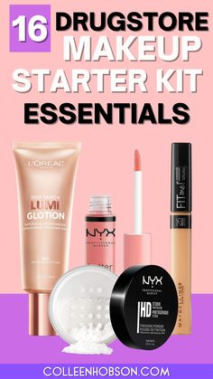 The best drugstore makeup products you need to get an affordable makeup starter kit going. #drugstoremakeup #affordable Cheap Makeup, Makeup To Buy, Kiss Makeup, Makeup Bag Essentials, Makeup Starter Kit, Best Drugstore Makeup, Make Up Tricks, Makeup Tips For Beginners, Makeup Techniques