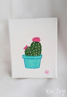 This is a 4x5 handpainted cactus on canvas stretched around a wood frame. Hang it on your wall with a nail or prop it on your bookshelves like I do! Brighten your home with this lil cutie! Perfect for a bedroom, office, nursery, kitchen, etc. Each one is painted in my sweet little library home/art studio.