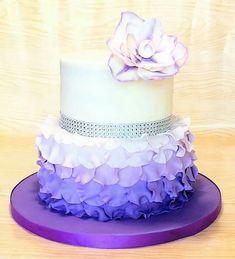 Birthday Cake Ideas, Teenage Fabulous Purple Cakes Round Layered Wonderful Cheerful Cute Shiny Ribbon Silver Flower Petals Design Unique Elegant Feminine: marvelous cute purple birthday cakes sweets feminine girls