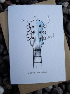 GUITAR Birthday Card by IsleofGB on Etsy, £2.50